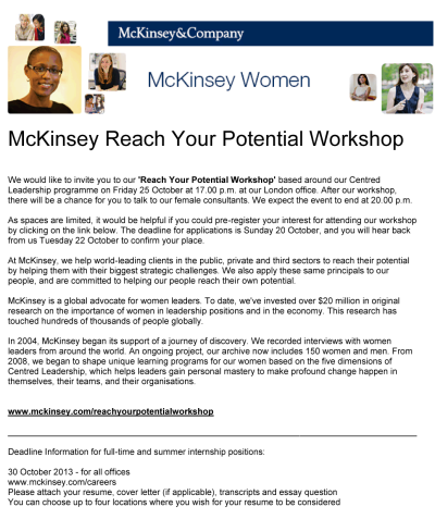 McKinsey Reach Your Potential Workshop