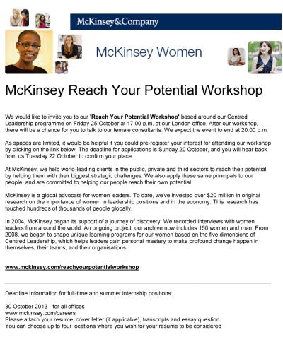 McKinsey Reach Your Potential Workshop
